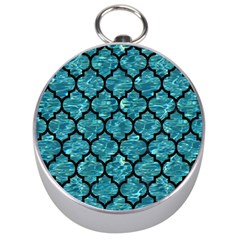 Tile1 Black Marble & Blue Green Water (r) Silver Compass by trendistuff