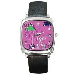 Behance Feelings Beauty Polka Dots Leaf Triangle Tropical Pink Square Metal Watch by Mariart