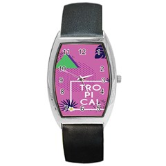 Behance Feelings Beauty Polka Dots Leaf Triangle Tropical Pink Barrel Style Metal Watch by Mariart