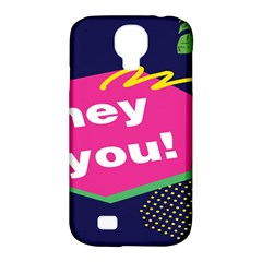 Behance Feelings Beauty Hey You Leaf Polka Dots Pink Blue Samsung Galaxy S4 Classic Hardshell Case (pc+silicone) by Mariart