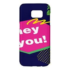 Behance Feelings Beauty Hey You Leaf Polka Dots Pink Blue Samsung Galaxy S7 Edge Hardshell Case by Mariart
