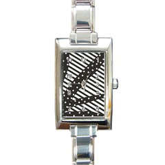 Ambiguous Stripes Line Polka Dots Black Rectangle Italian Charm Watch by Mariart