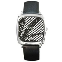 Ambiguous Stripes Line Polka Dots Black Square Metal Watch by Mariart