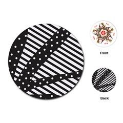 Ambiguous Stripes Line Polka Dots Black Playing Cards (round)  by Mariart