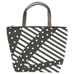Ambiguous Stripes Line Polka Dots Black Bucket Bags by Mariart