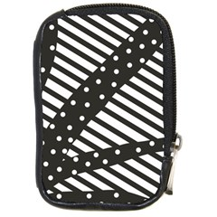 Ambiguous Stripes Line Polka Dots Black Compact Camera Cases by Mariart