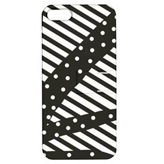 Ambiguous Stripes Line Polka Dots Black Apple Iphone 5 Hardshell Case With Stand by Mariart