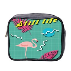 Behance Feelings Beauty Flamingo Bird Still Life Leaf Green Pink Red Mini Toiletries Bag 2 Side by Mariart