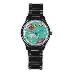 Behance Feelings Beauty Flamingo Bird Still Life Leaf Green Pink Red Stainless Steel Round Watch by Mariart