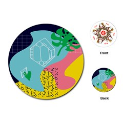 Behance Feelings Beauty Waves Blue Yellow Pink Green Leaf Playing Cards (round)  by Mariart