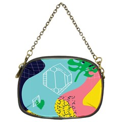 Behance Feelings Beauty Waves Blue Yellow Pink Green Leaf Chain Purses (two Sides)  by Mariart