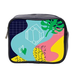 Behance Feelings Beauty Waves Blue Yellow Pink Green Leaf Mini Toiletries Bag 2 Side by Mariart