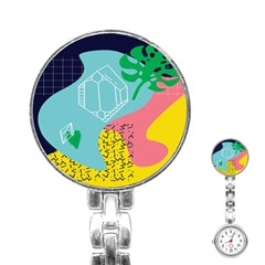 Behance Feelings Beauty Waves Blue Yellow Pink Green Leaf Stainless Steel Nurses Watch by Mariart