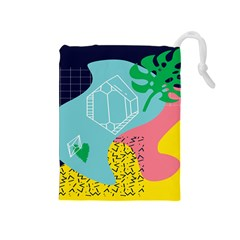 Behance Feelings Beauty Waves Blue Yellow Pink Green Leaf Drawstring Pouches (medium)  by Mariart