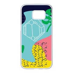 Behance Feelings Beauty Waves Blue Yellow Pink Green Leaf Samsung Galaxy S7 Edge White Seamless Case by Mariart