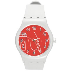 Caffeine And Breastfeeding Coffee Nursing Red Sign Round Plastic Sport Watch (m) by Mariart