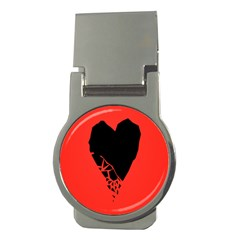 Broken Heart Tease Black Red Money Clips (round)  by Mariart