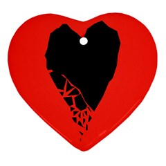Broken Heart Tease Black Red Heart Ornament (two Sides) by Mariart