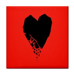 Broken Heart Tease Black Red Face Towel by Mariart