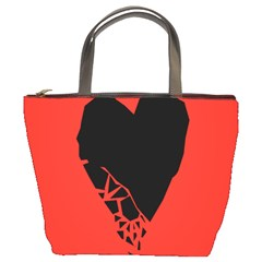 Broken Heart Tease Black Red Bucket Bags by Mariart