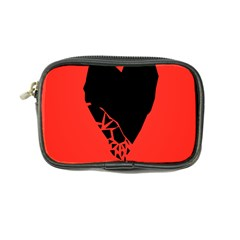 Broken Heart Tease Black Red Coin Purse by Mariart