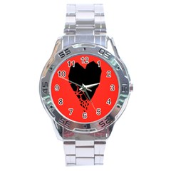 Broken Heart Tease Black Red Stainless Steel Analogue Watch by Mariart