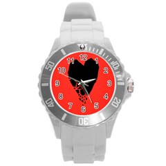 Broken Heart Tease Black Red Round Plastic Sport Watch (l) by Mariart