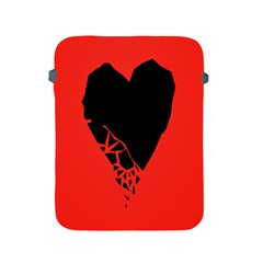 Broken Heart Tease Black Red Apple Ipad 2/3/4 Protective Soft Cases by Mariart