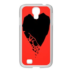 Broken Heart Tease Black Red Samsung Galaxy S4 I9500/ I9505 Case (white) by Mariart