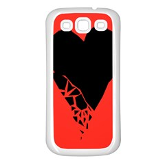Broken Heart Tease Black Red Samsung Galaxy S3 Back Case (white) by Mariart