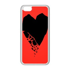 Broken Heart Tease Black Red Apple Iphone 5c Seamless Case (white) by Mariart