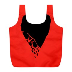 Broken Heart Tease Black Red Full Print Recycle Bags (l)  by Mariart