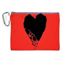 Broken Heart Tease Black Red Canvas Cosmetic Bag (xxl) by Mariart