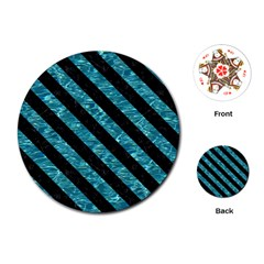Stripes3 Black Marble & Blue Green Water (r) Playing Cards (round) by trendistuff