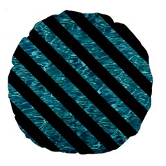 Stripes3 Black Marble & Blue Green Water (r) Large 18  Premium Round Cushion  by trendistuff