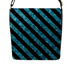 Stripes3 Black Marble & Blue Green Water (r) Flap Closure Messenger Bag (l) by trendistuff