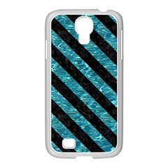 Stripes3 Black Marble & Blue Green Water (r) Samsung Galaxy S4 I9500/ I9505 Case (white)