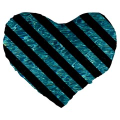 Stripes3 Black Marble & Blue Green Water (r) Large 19  Premium Flano Heart Shape Cushion by trendistuff