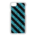 STRIPES3 BLACK MARBLE & BLUE-GREEN WATER (R) Apple iPhone 7 Seamless Case (White) Front