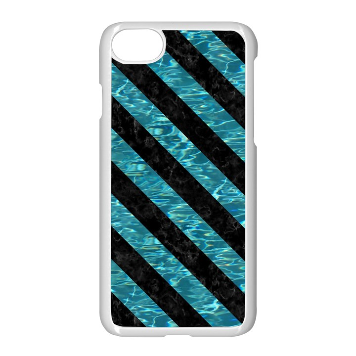 STRIPES3 BLACK MARBLE & BLUE-GREEN WATER (R) Apple iPhone 7 Seamless Case (White)