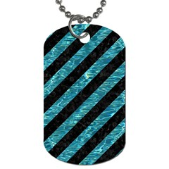 Stripes3 Black Marble & Blue Green Water Dog Tag (one Side) by trendistuff