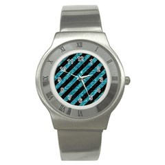Stripes3 Black Marble & Blue Green Water Stainless Steel Watch