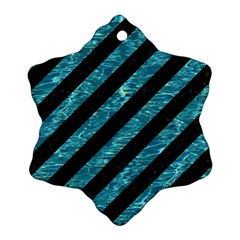 Stripes3 Black Marble & Blue Green Water Ornament (snowflake) by trendistuff