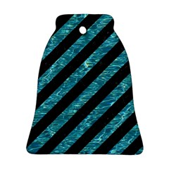 Stripes3 Black Marble & Blue Green Water Bell Ornament (two Sides) by trendistuff