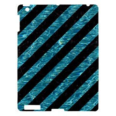 Stripes3 Black Marble & Blue Green Water Apple Ipad 3/4 Hardshell Case by trendistuff