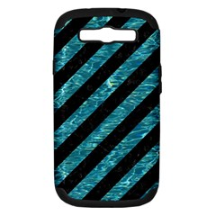 Stripes3 Black Marble & Blue Green Water Samsung Galaxy S Iii Hardshell Case (pc+silicone) by trendistuff
