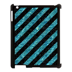 Stripes3 Black Marble & Blue Green Water Apple Ipad 3/4 Case (black) by trendistuff