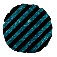 Stripes3 Black Marble & Blue Green Water Large 18  Premium Round Cushion  by trendistuff