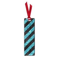 Stripes3 Black Marble & Blue Green Water Small Book Mark by trendistuff