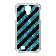 Stripes3 Black Marble & Blue Green Water Samsung Galaxy S4 I9500/ I9505 Case (white) by trendistuff
